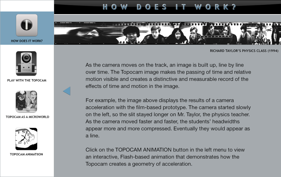 Topocam and acceleration